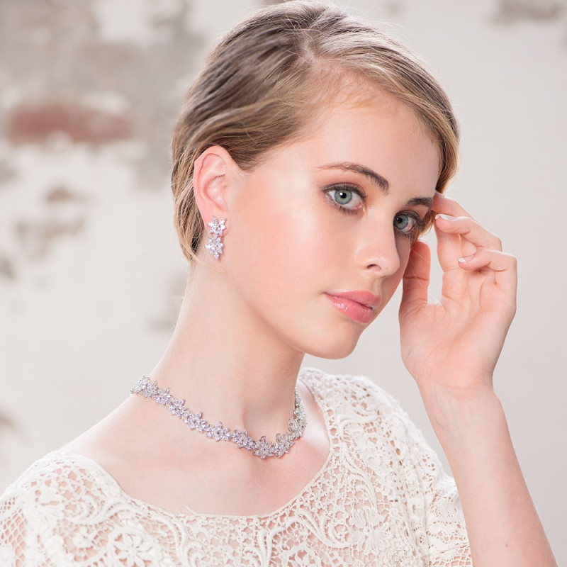 Statement cubic zirconia necklace and earring wedding jewellery set - product images  of
