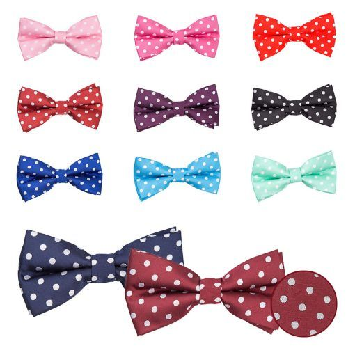 Polka dot pre tied wedding bow ties - product images  of