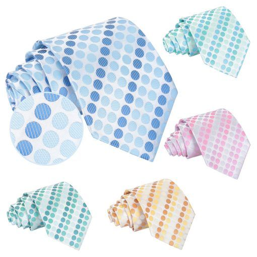Mens Pastel polka dot classic wedding tie and matching pocket squares - product images  of