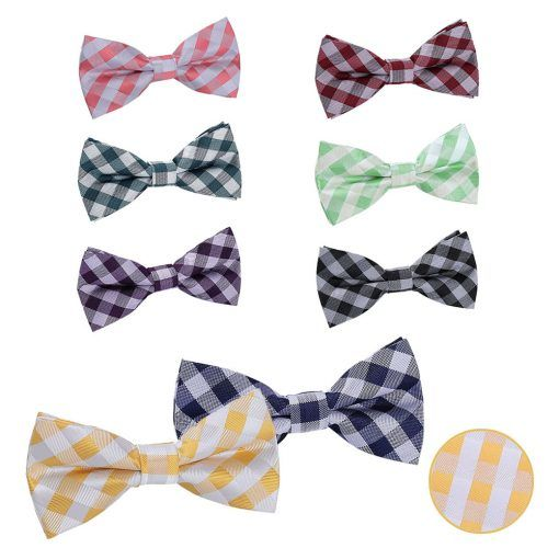 Groomsmen gingham check wedding bow ties - product images  of