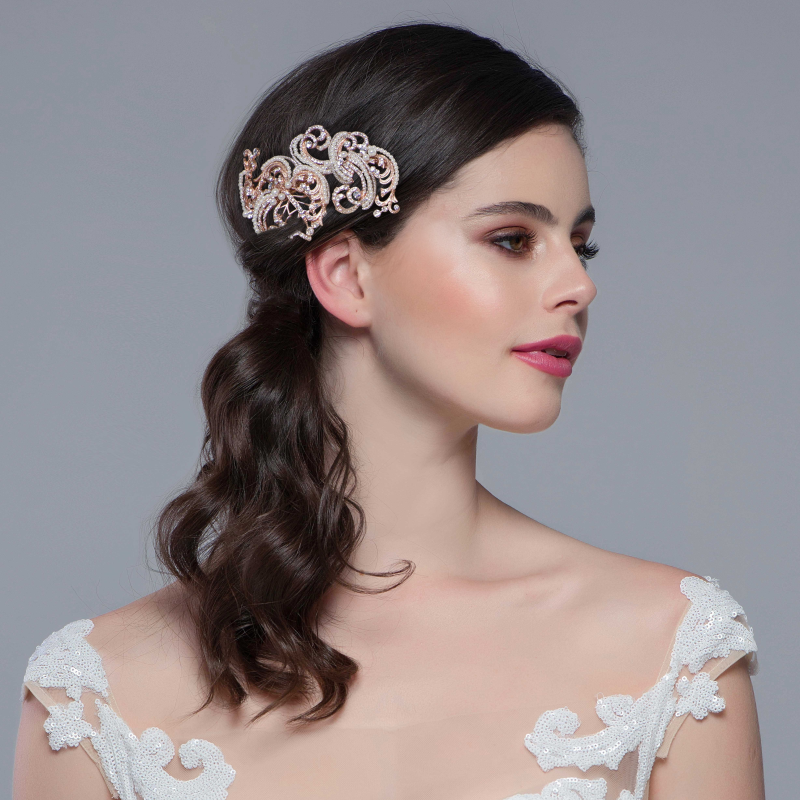 Vintage pearl rose gold wedding headpiece  - product images  of