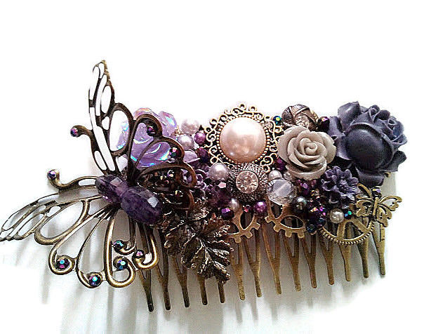 Antique bronze butterfly and purple floral wedding hair comb, purple floral wedding hair comb, alternative bridal hair comb, alternative wedding hair comb, bronze wedding hair accessory, butterfly bridal hair comb, bronze wedding hair comb, bronze wedding hair accessory