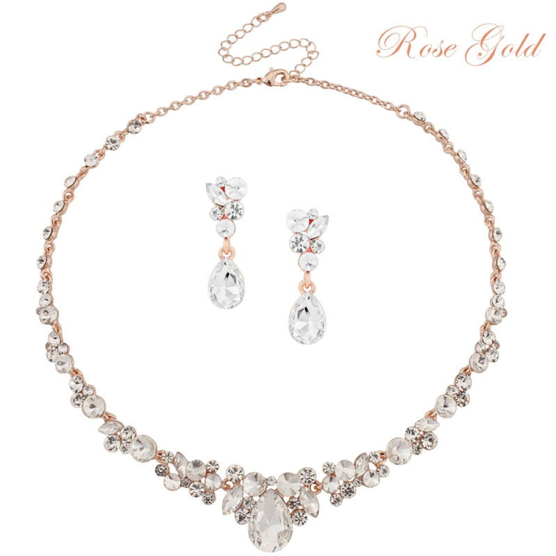 Crystal rose gold wedding necklace and earring set, bridal rose gold wedding jewellery, gold wedding jewellery, gold bridal jewellery set