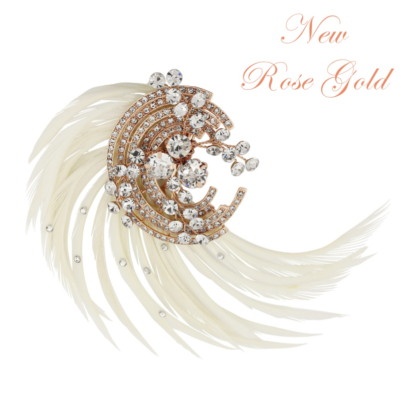 Luxury feather rose gold wedding head piece  - product images  of