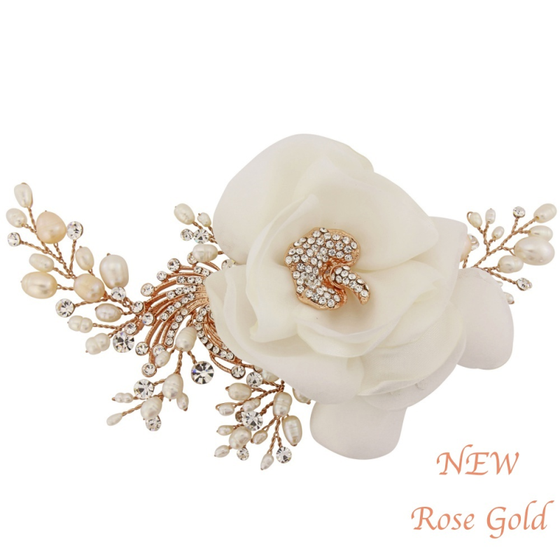 ivory satin flower rose gold wedding head piece - product images  of
