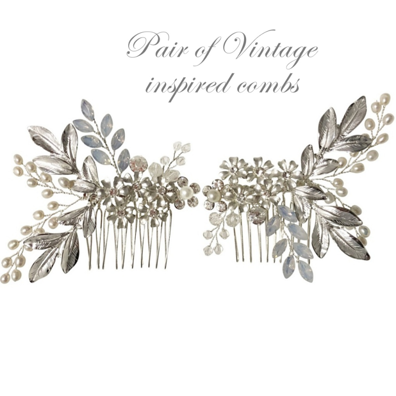 Pair of vintage inspired floral silver wedding hair combs - product images  of