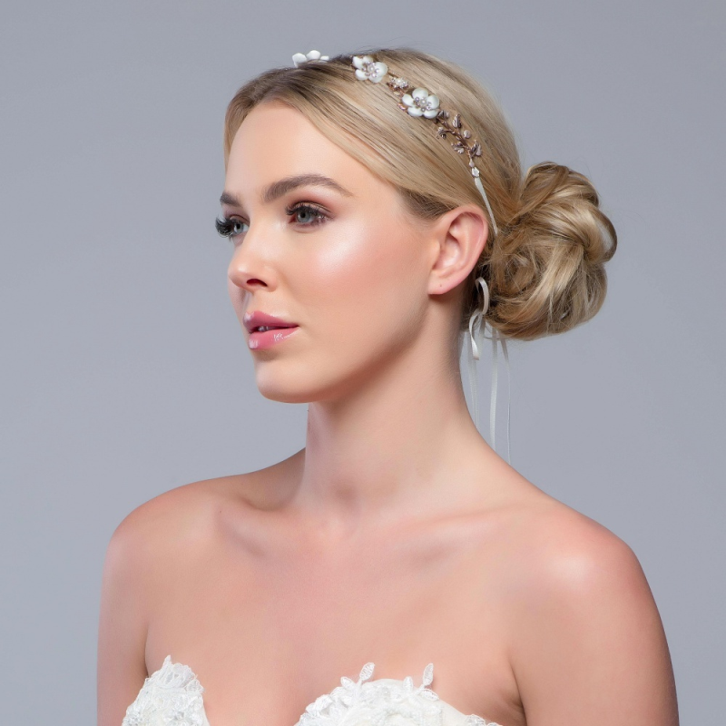 Floral rose gold wedding hair vine - product images  of
