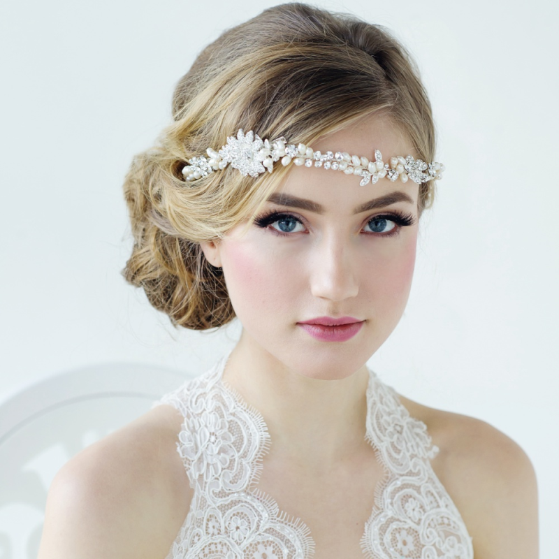 Luxury Pearl and crystal wedding hair vine - product images  of