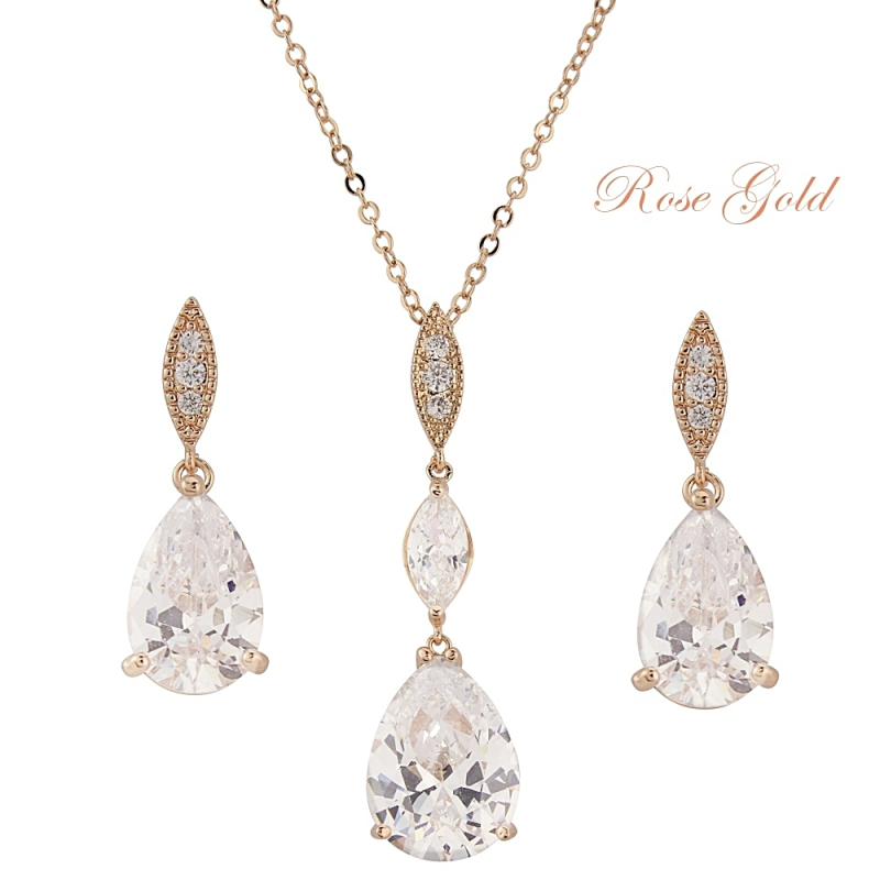 cubic zirconia bridal necklace and earring jewellery set - product images  of