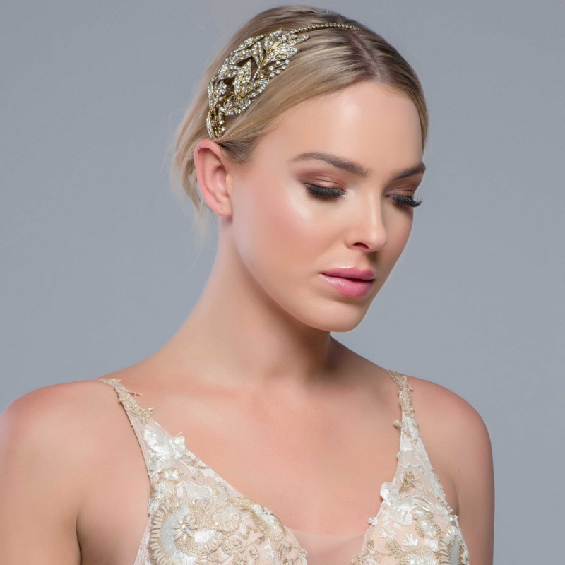 Antique gold leaf design wedding hair band - product images  of