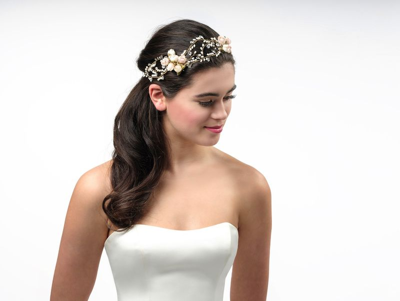 Floral rose pearl and crystal wedding hair vine - product images  of
