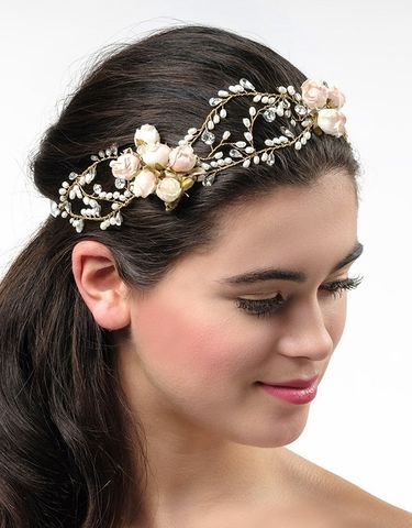 Floral,rose,pearl,and,crystal,wedding,hair,vine,floral wedding hair vine, rose bud wedding hair accessories, gold hair vine, wedding hair vine, floral bridal hair vine, wedding hair accessories