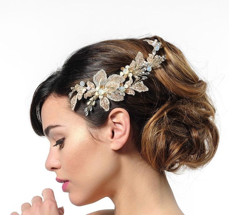 Rose gold leaf design wedding hair vine corsage  - product images  of