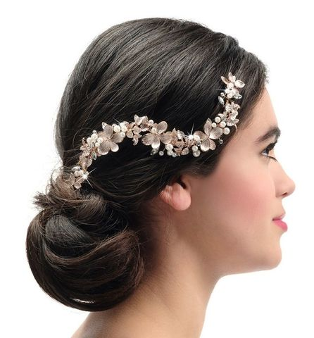 Floral,wedding,hair,vine,wedding floral hair vine, wedding hair vine, floral gold wedding hair vine, gold wedding hair vine for brides, silver bridal hair vines, floral hair vines for brides, wedding rose gold hair pieces, wedding hair accessories for brides,