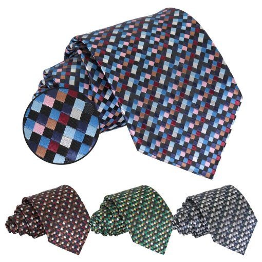 Chequered Geometric Groomsmen wedding ties - product images  of
