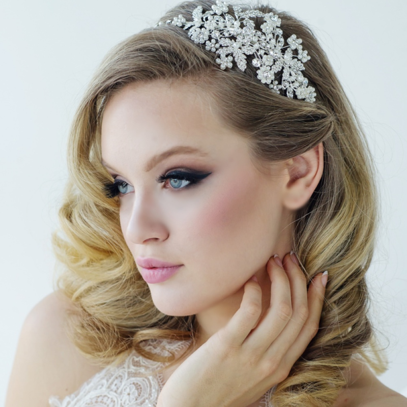 Ornate pearl and crystal wedding side headband - product images  of