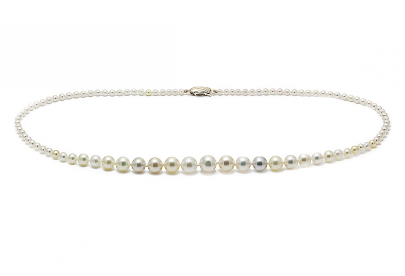 Akoya pearl graduated 9ct gold wedding necklace - product images  of