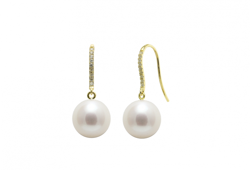 Diamond set 18ct gold pearl wedding earrings - product images  of