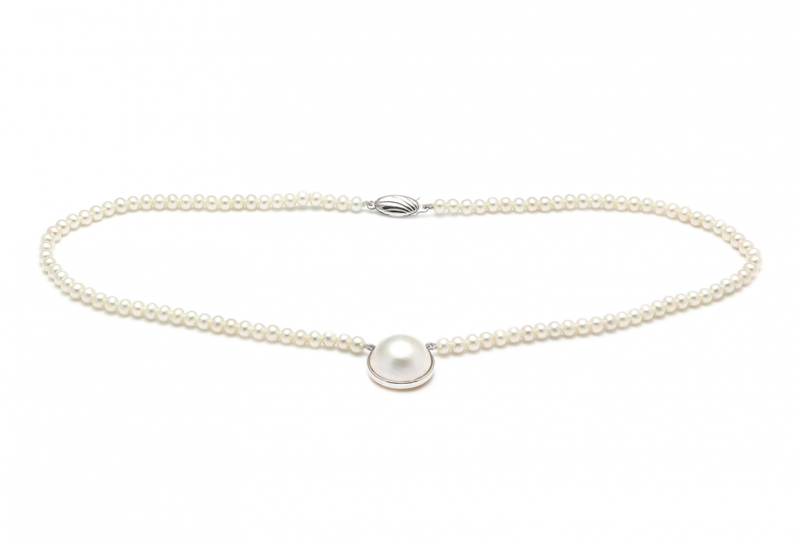 Classic river water pearl with a mabe pearl pendent wedding necklace - product images  of