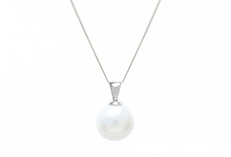 Nucleated Cultured 12mm river water pearl pendent with chain - product images