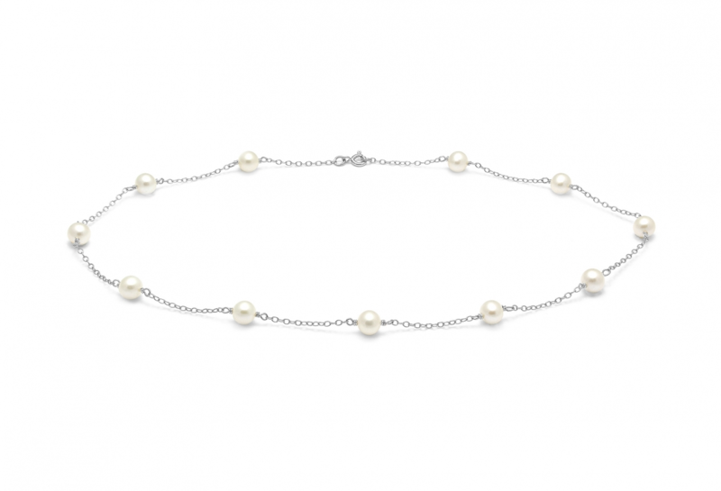 River water pearl chain wedding necklace - product images  of