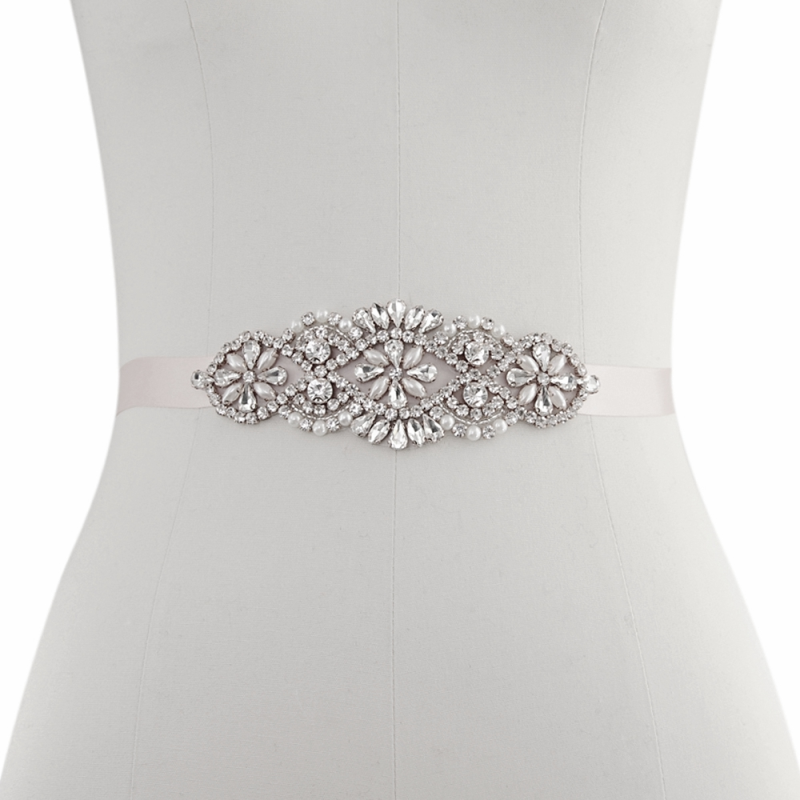 vintage crystal and pearl wedding dress belt - product images  of