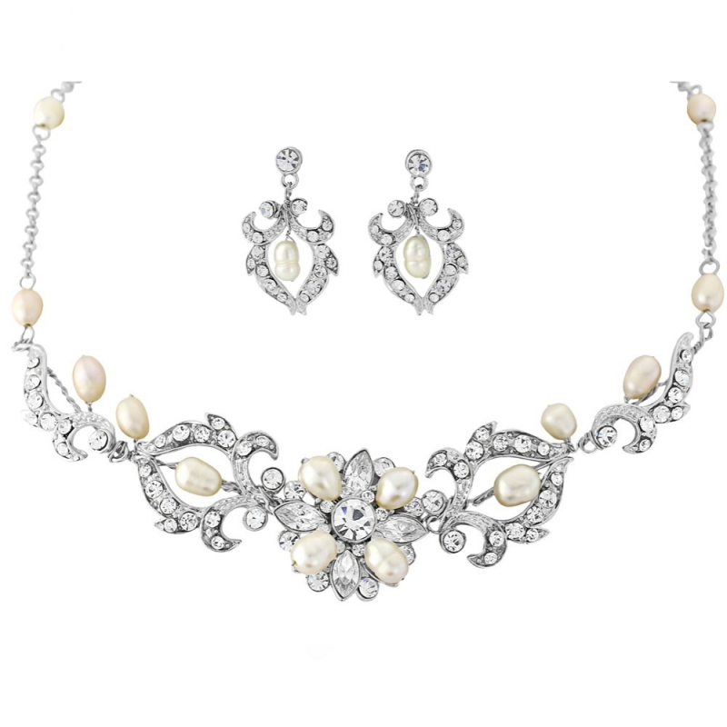 Glamourous pearl wedding necklace and earring set - product images  of