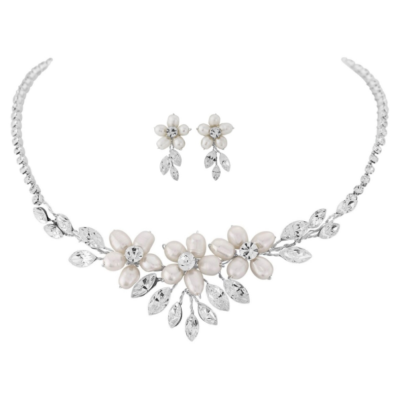 Vintage pearl wedding necklace and earring jewellery set - product images  of