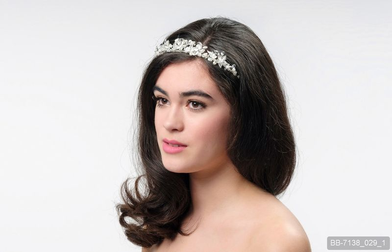 Floral and crystal wedding tiara - product images  of