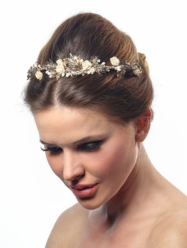 Luxury gold and floral wedding tiara - product images  of