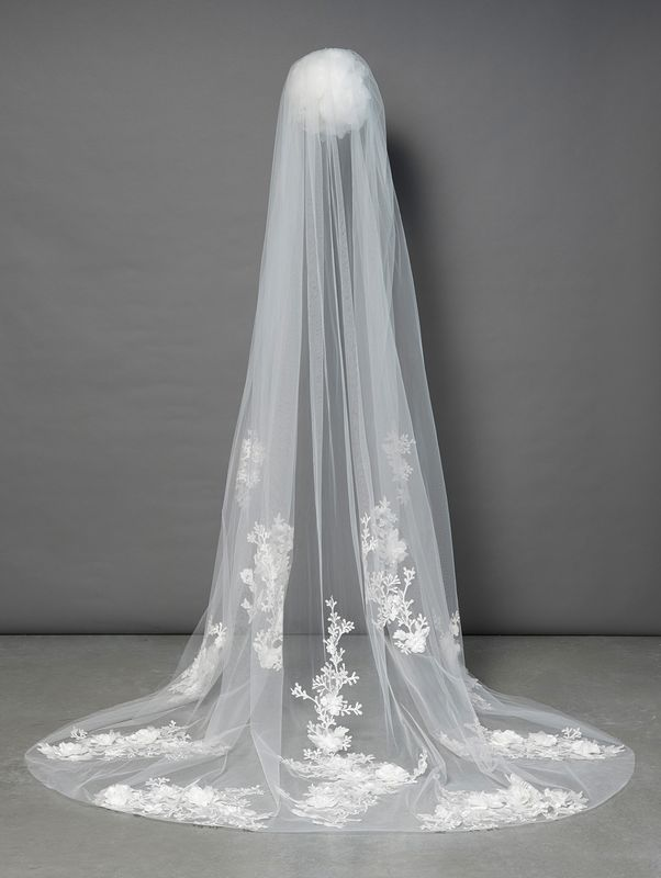Cathedral single layered 3d floral lace applique ivory wedding veil  - product images  of