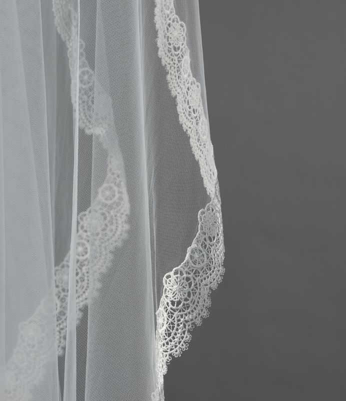 Single layered crochet edged ivory wedding veil - product images  of