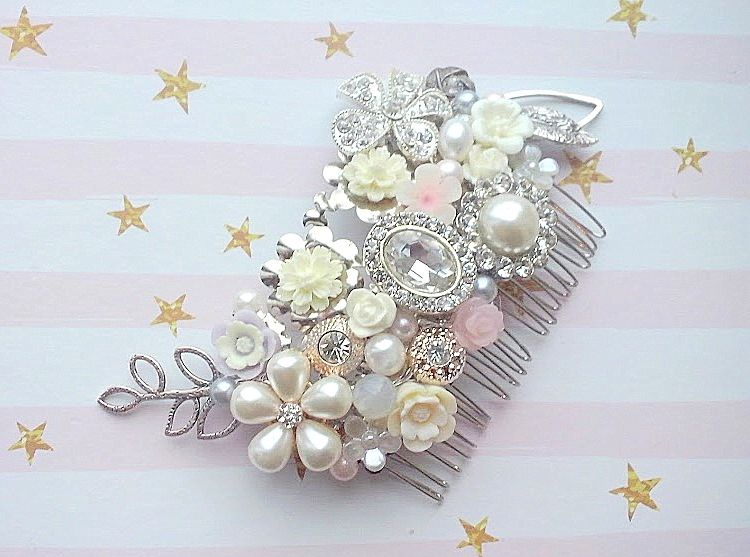 bespoke pastel floral wedding hair comb