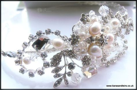 Bespoke pearl and crystal side tiara
