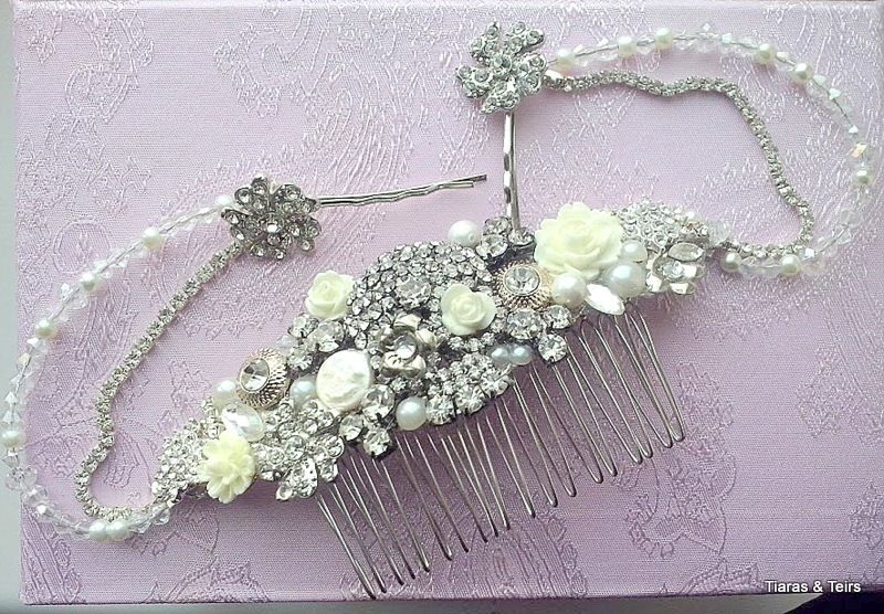 bespoke crystal skull wedding hair comb