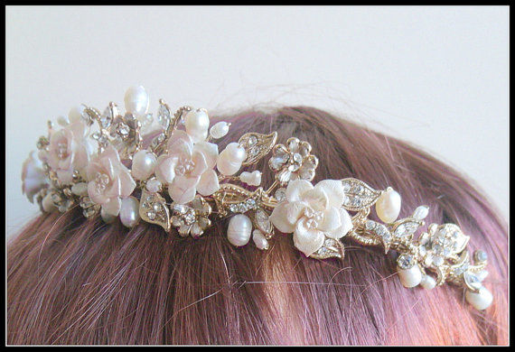 bepsoke gold floral wedding tiara