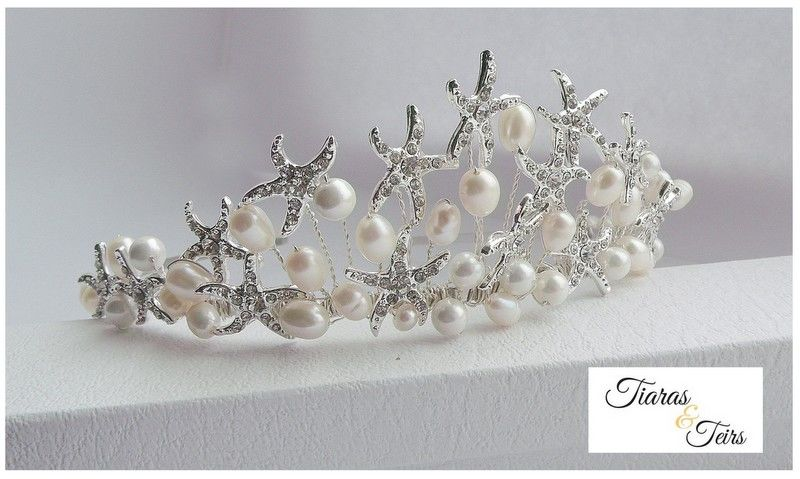starfish and pearl wedding tiara