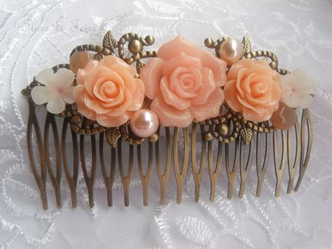 Peach antique bronze wedding hair comb