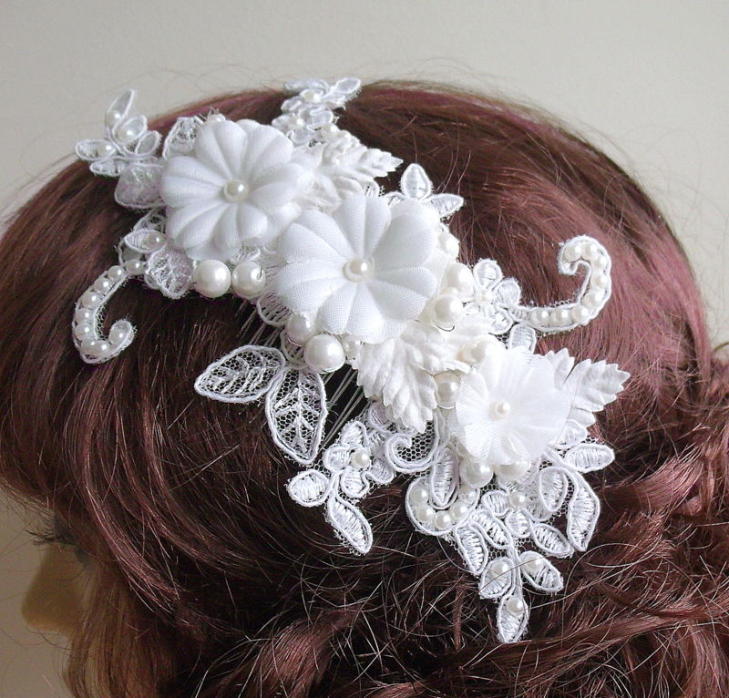 floral lace wedding hair comb