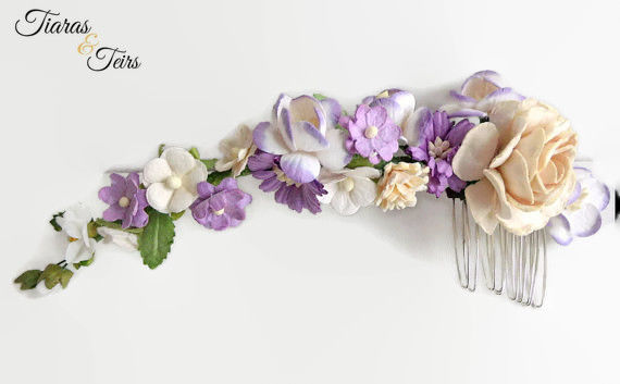 purple floral wedding hair comb