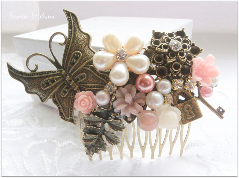 steam punk butterfly wedding hair comb