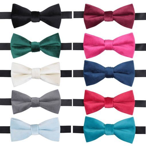 Plain Velvet Pre tied wedding bow ties  - product images