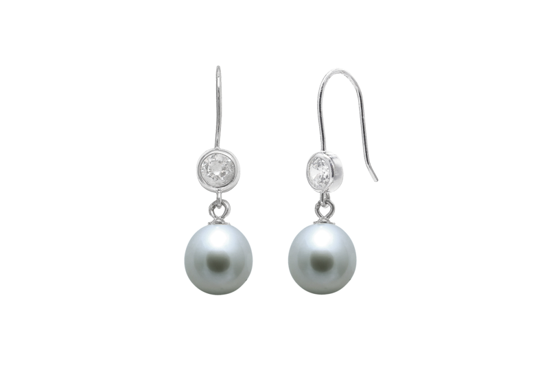 Cubic zirconia sterling silver pearl wedding earrings  - product images  of