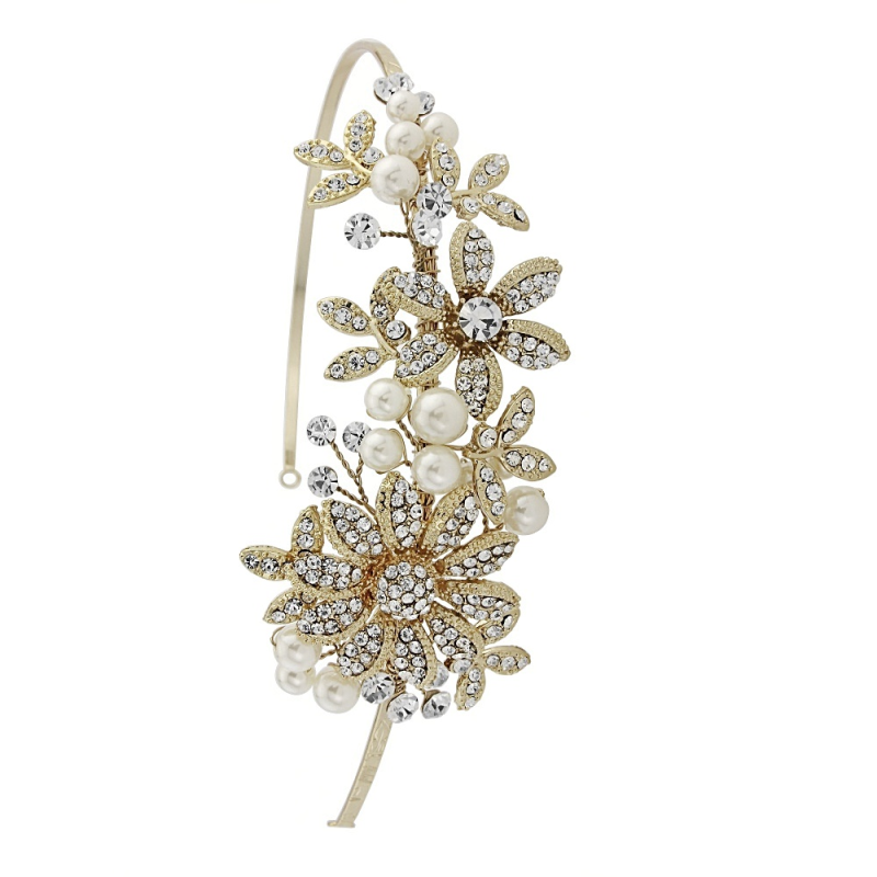 Flower and crystal wedding side headband - product images  of