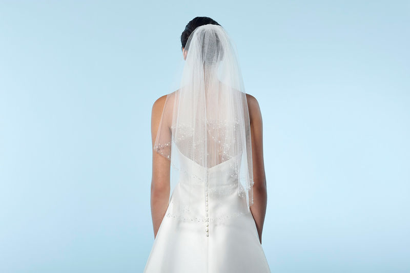 Pearl beaded edge waist length wedding veil - product images  of