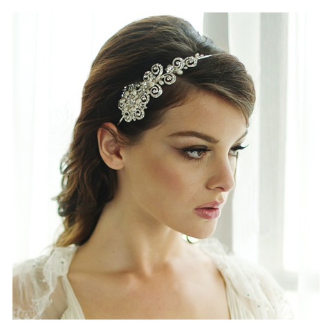 Vintage,chic,couture,wedding,hairband,vintage chic couture wedding hairband, pearl and crystal wedding side headband, silver side headband, chic wedding headband, headbands for brides, Hollywood glamour bridal hair accessories, glamourous wedding hair accessories, pearl wedding headband, side