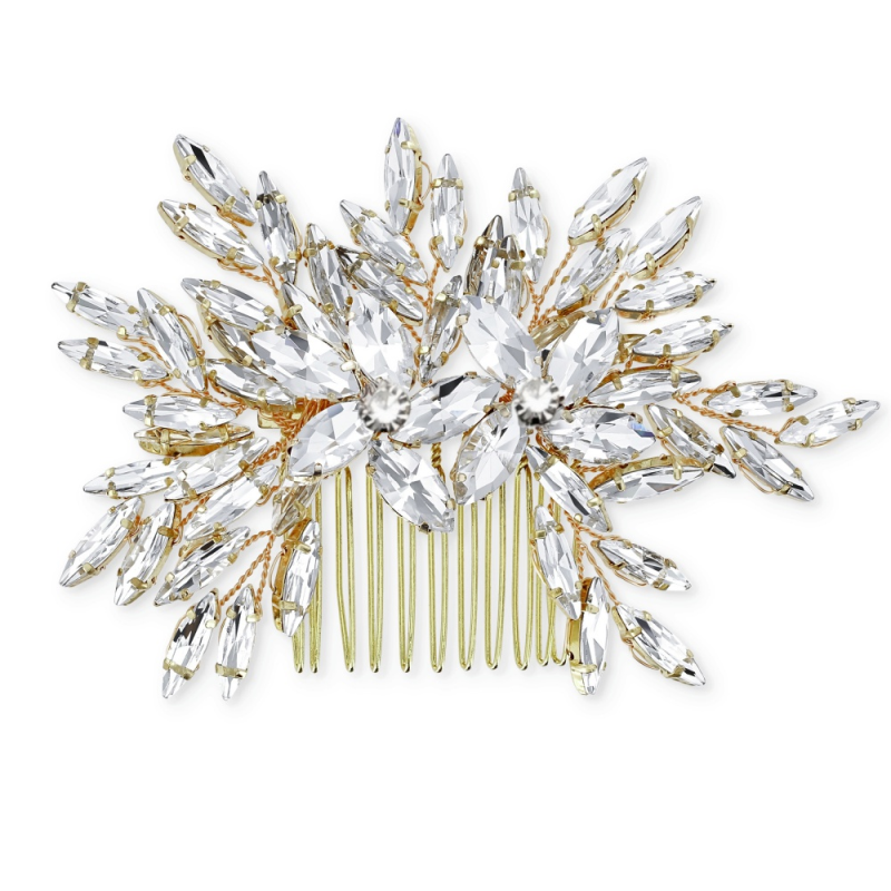 Gold crystal wedding hair comb - product images  of