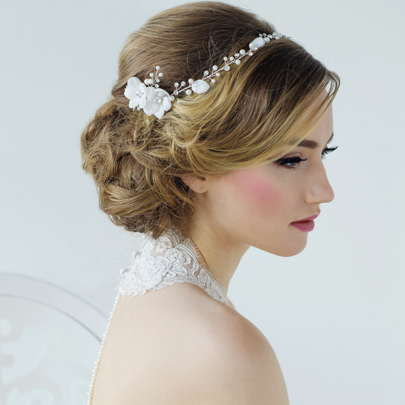 Boho chic floral and pearl wedding hair comb - product images  of
