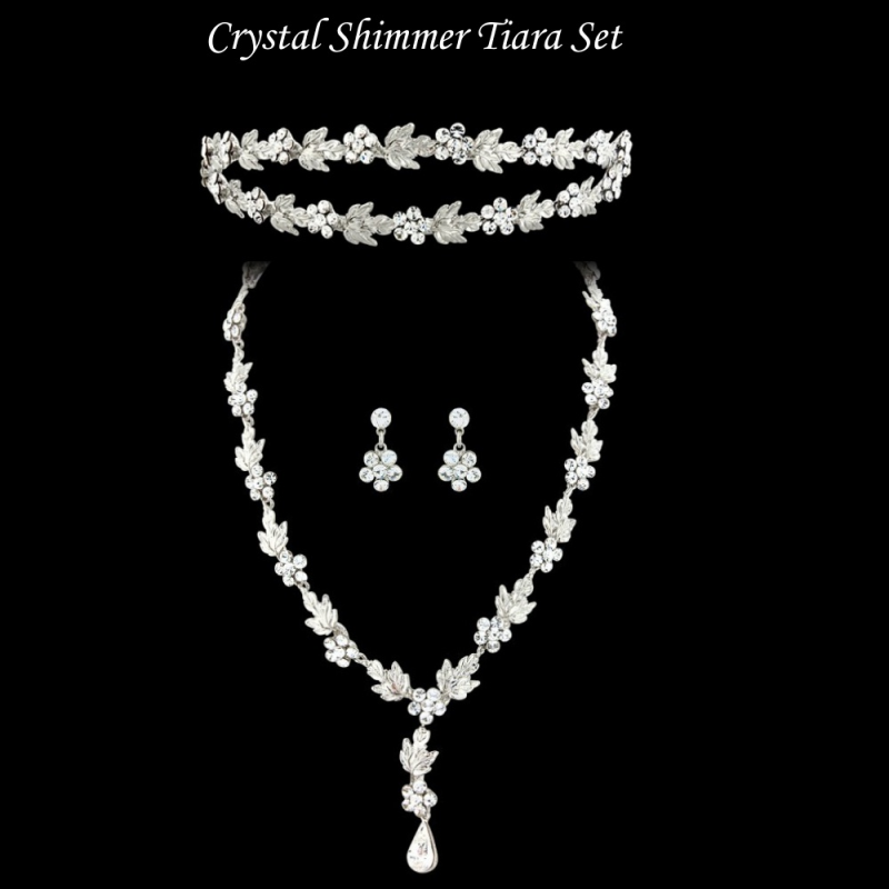 Floral crystal double headband and matching bridal jewellery set  - product images  of