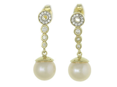 9ct yellow gold pearl and cubic zirconia wedding earrings - product images